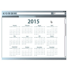 Internet browser with 2015 calendar vector image