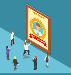 isometric business people celebrate best employee vector image