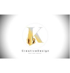 K golden letter design brush paint stroke gold vector
