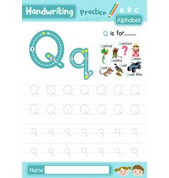 Letter q uppercase and lowercase tracing practice vector