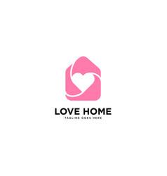 Love home logo simple line logo template vector