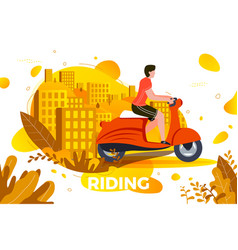 man riding on motorbike vector image