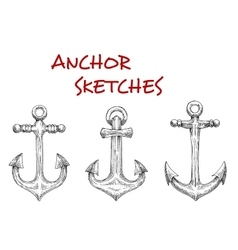 Marine ship anchors isolated sketches vector