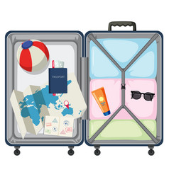 modern suitcase with travel object vector image