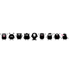 Monster big set black silhouette line cute vector