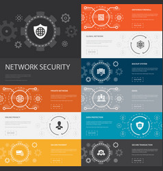 Network security infographic 10 line icons banners vector