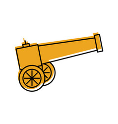 Old cannon isolated icon vector
