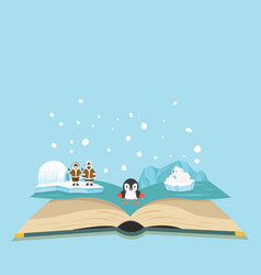 open book of north pole background vector image