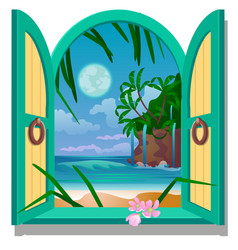 opened frame window with a view of sandy beach of vector image