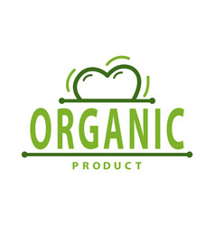 organic product logo and heart isolated label vector image