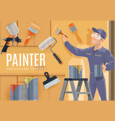 painter profession construction industry vector image