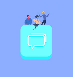 people group on chat bubble icon creative team vector image