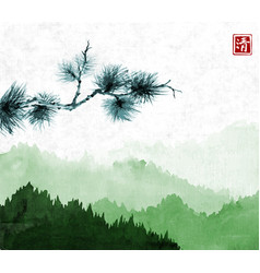 pine tree branch an green mountains with forest vector image
