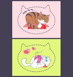 Posters with silhouette big kitten heads hearts vector
