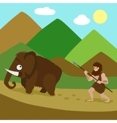 Primeval man hunted mammoths cartoon vector image