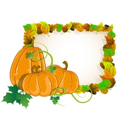 Pumpkins and leaves vector image