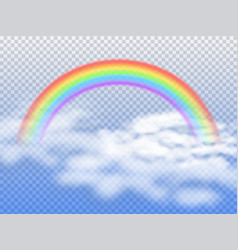 Rainbow arc with white clouds in blue sky 3d vector