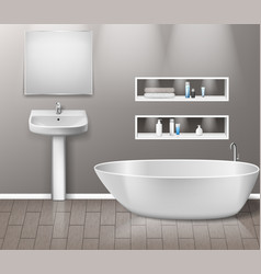 realistic bathroom furniture interior with modern vector image