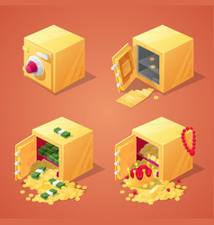 safe boxes set for game interface vector image