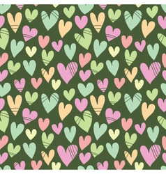 Seamless pattern with a lot of hearts on a green b vector