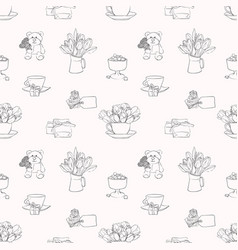 Seamless pattern with flower composition vector