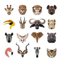 Set african animals faces isolated icons flat vector