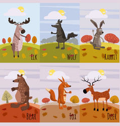 set cards woodland animals and cute forest design vector image