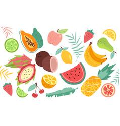 Set doodle fruits natural tropical fruit vector