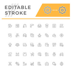 set line icons of service vector image