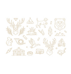 set linear signs for nature and travel vector image