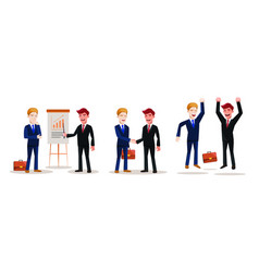 set of business people at work diverse situations vector image