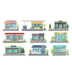 Set of flat design restaurants and shops vector
