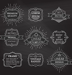 set of linear chalk badges labels logo templates vector image