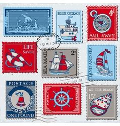 Set retro sea post stamps vector