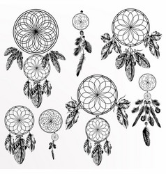 Set with hand drawn dream catchers in retro style vector