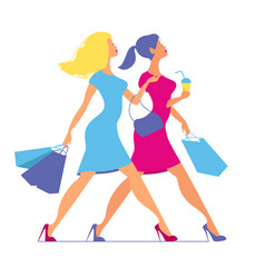 silhouette of women with shopping bags silhouette vector image