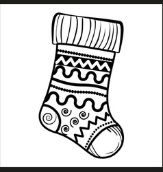 Sketch christmas sock vector