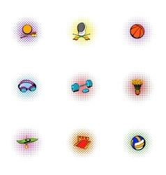 Sports accessories icons set pop-art style vector image