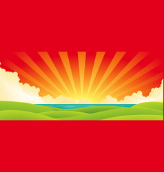 sunset over water vector image