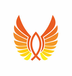 symbol fish and wings vector image