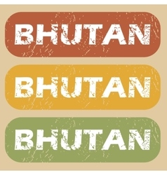 Vintage Bhutan stamp set vector
