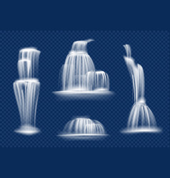 waterfall water cascade flowing with splashes and vector image