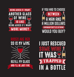 Wine saying quote set 100 best for print vector