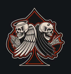 with an angel and devil skeletons in tattoo style vector image