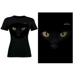 women black t-shirt with cat eyes vector image