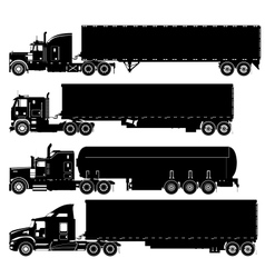 detailed trucks silhouettes set vector image vector image