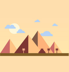 egypt pyramids with palms in desert flat design vector image