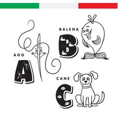 italian alphabet needle whale dog vector image vector image
