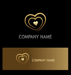 love heart gold logo vector image vector image