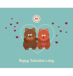 Lovers and happy bears with hearts vector image vector image